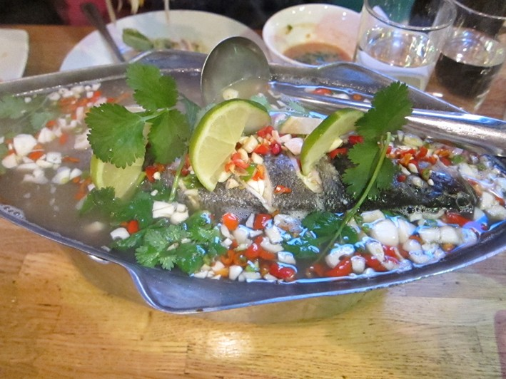 steamed sea bass with chillies