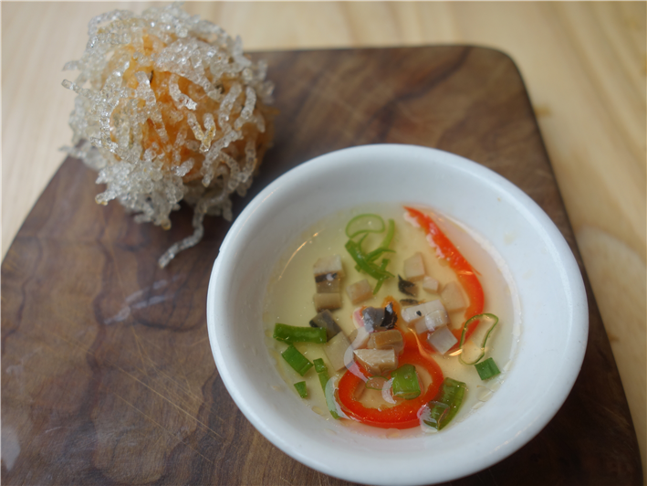 prawn ball with abalone and chilli vinaigrette