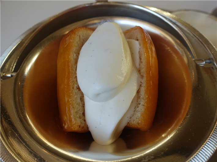rum baba after Chantilly cream added