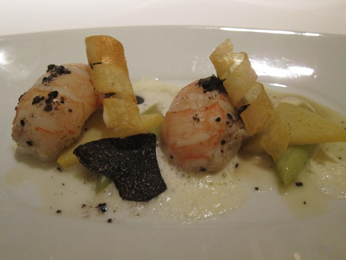 langoustines with leeks