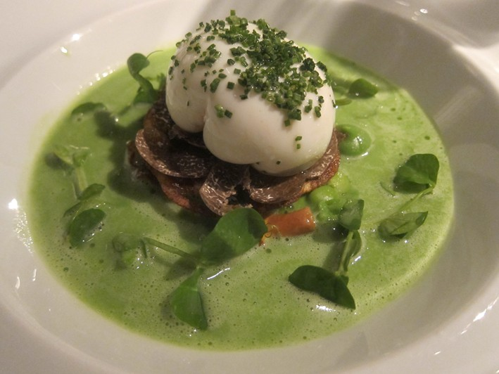 hen egg with pea veloute