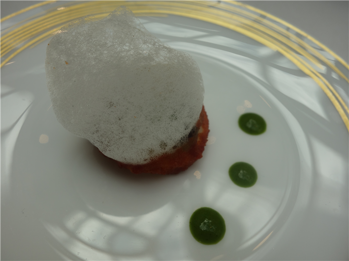 baked aubergine with tomato and basil foam