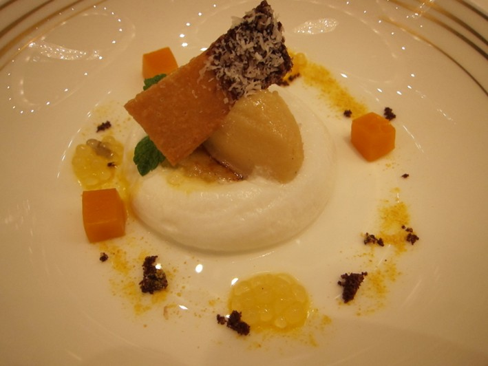 tapioca pearls and banana sorbet