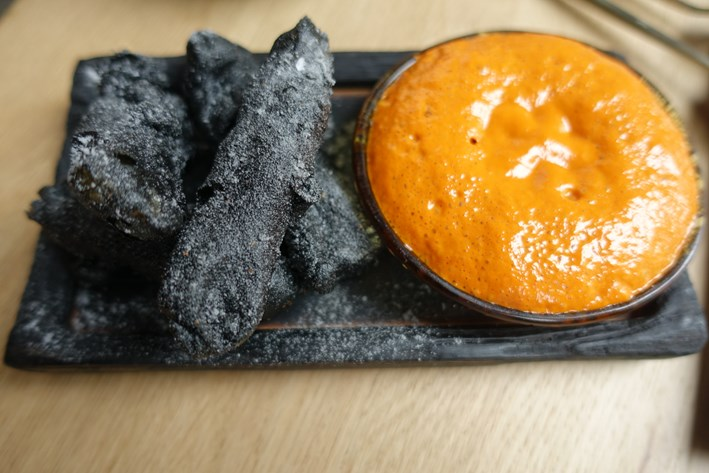 charcoal with pepper sauce