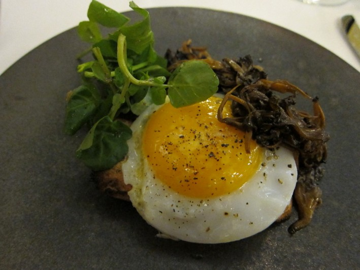 duck egg and mushrooms