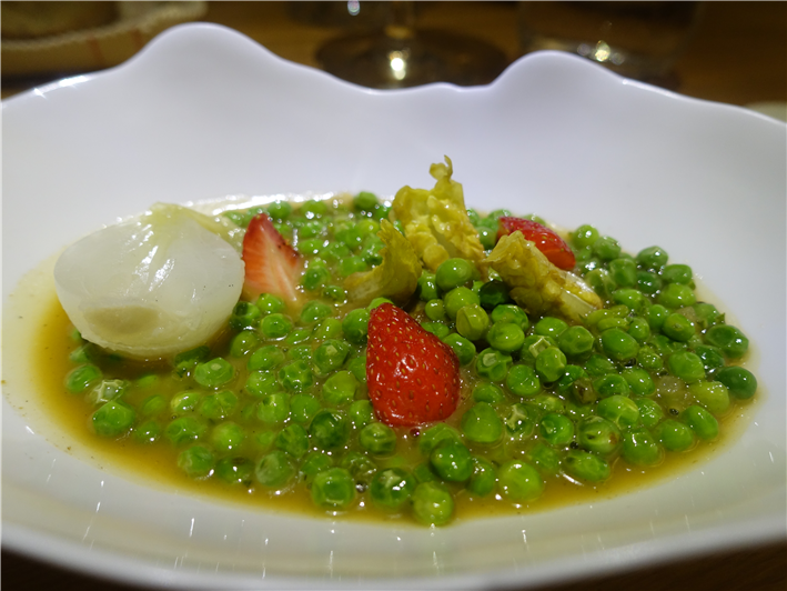 peas, onion and strawberries