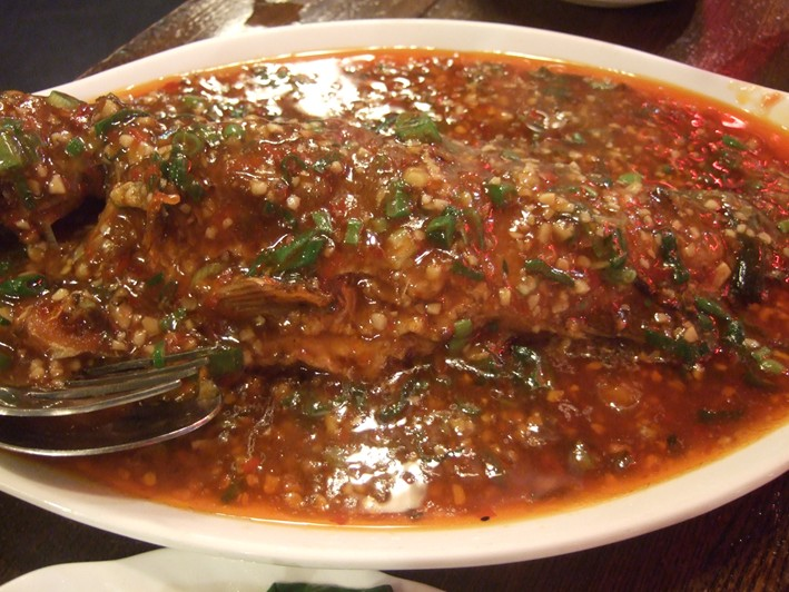 sea bass with chillies