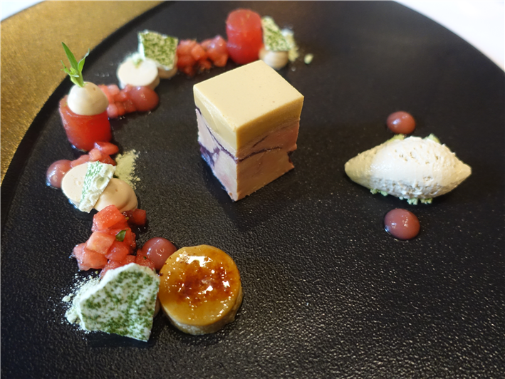 goose liver terrine and watermelon