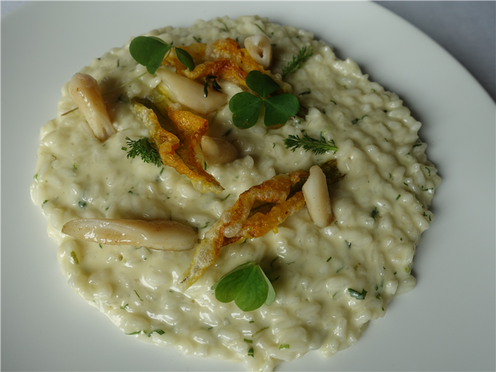 risotto of razor clams and courgette flowers