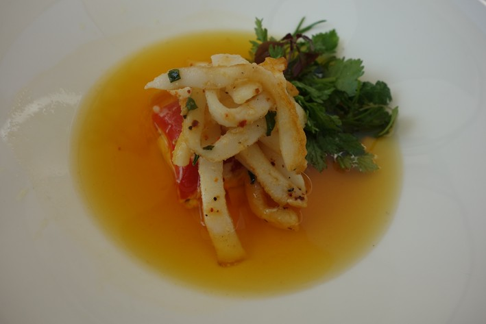 squid and consomme