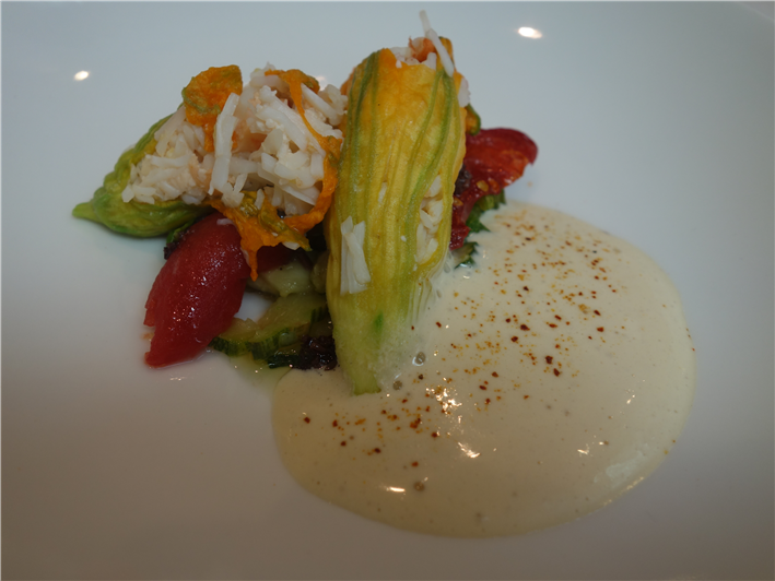 crab in courgette flower