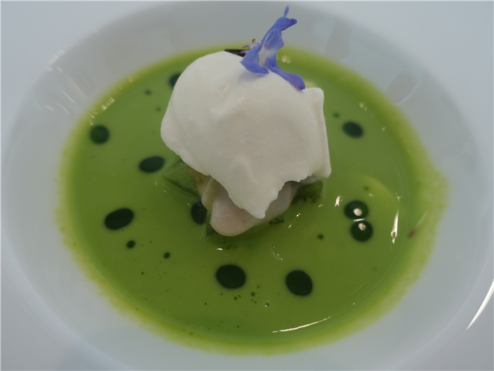 poached oyster and cucumber amuse bouche