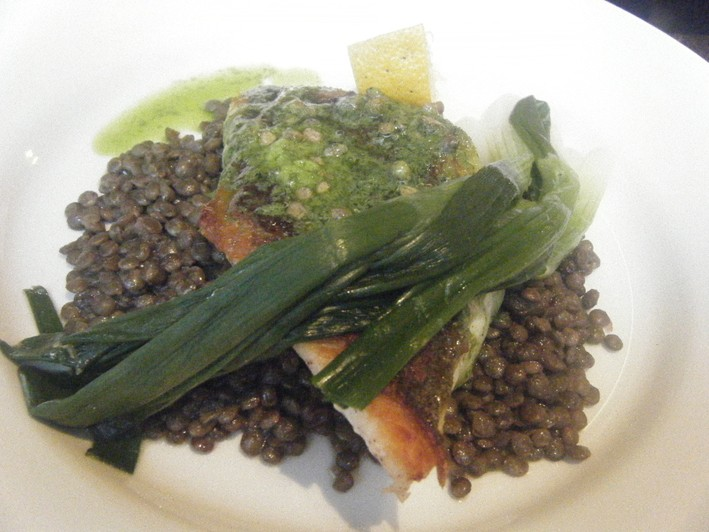 sea bass on puy lentils