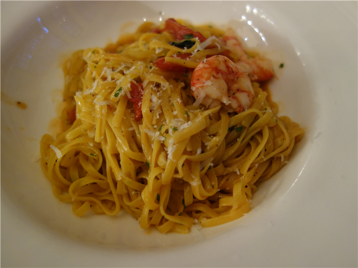 tagliolini with red prawns