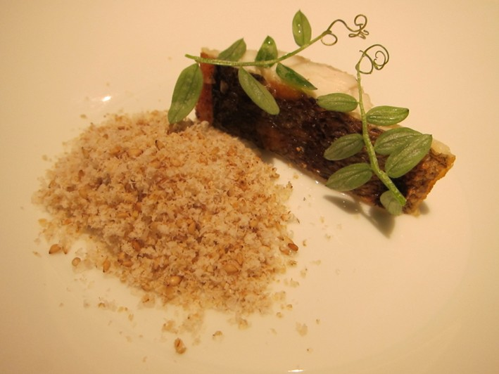 sea bass and macadmia powder