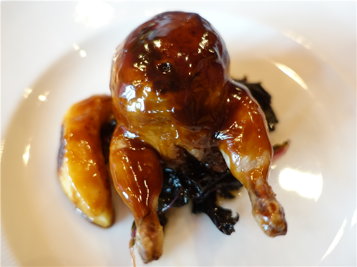 quail stuffed with Iberico pork