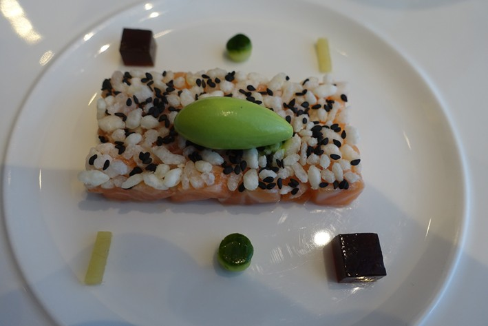salmon with wasabi ice cream