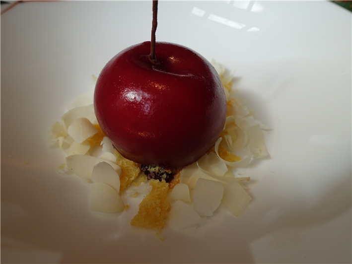 cherry with almond mousse