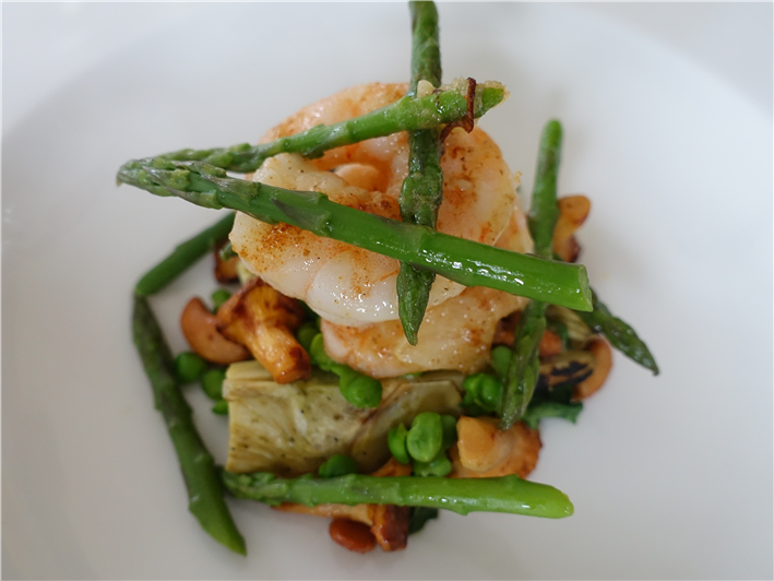 Brittany prawns and French vegetables