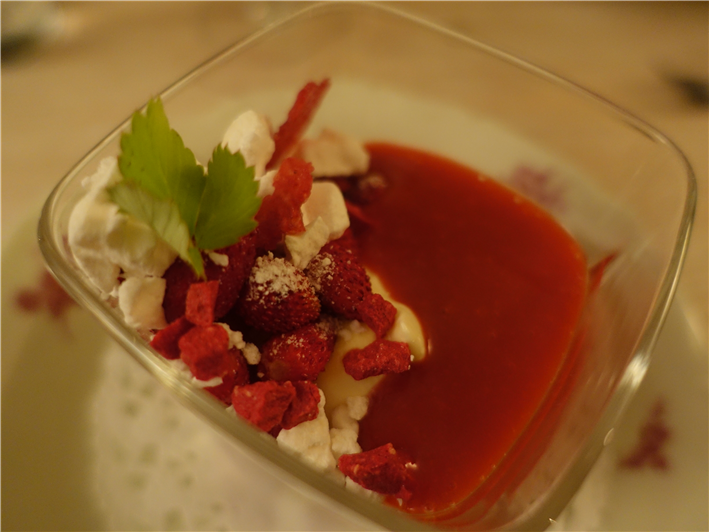 Alpine strawberry dessert