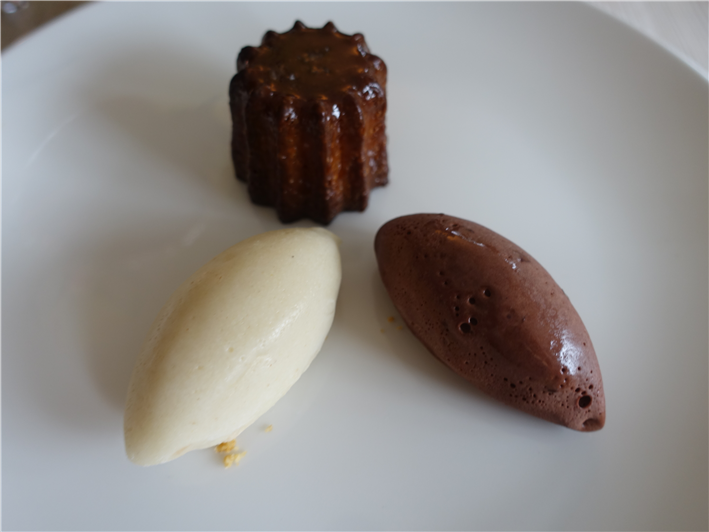canele with ice cream and sorbet