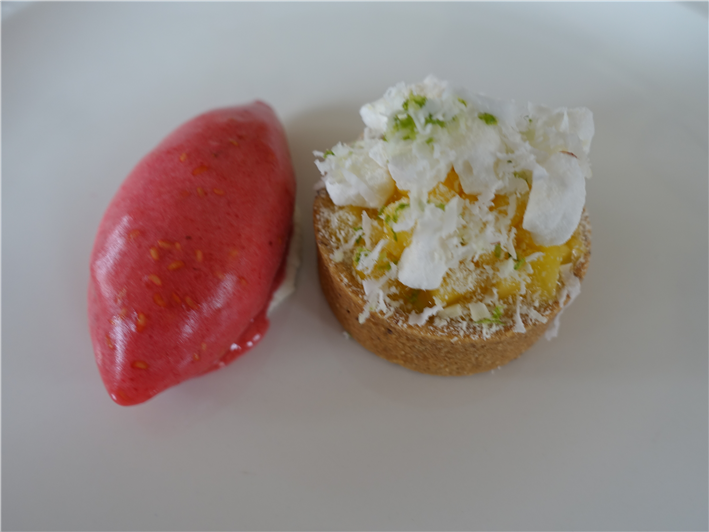 pre dessert tartlet with raspberry sorbet