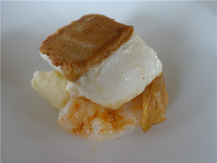 halibut with prawns and celeriac puree