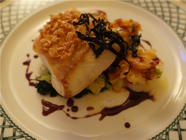 halibut with prawns