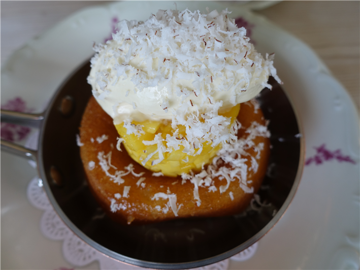 rum baba with mango