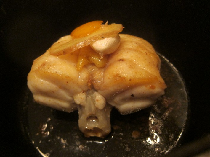 monkfish in pan