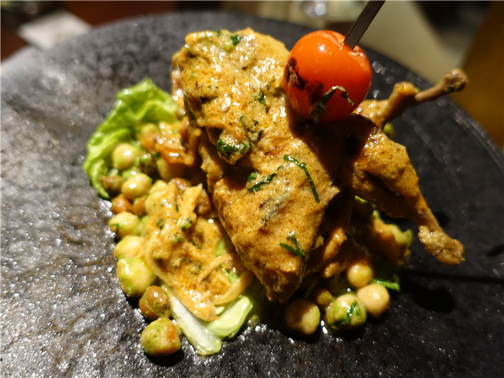 quail with chickpeas