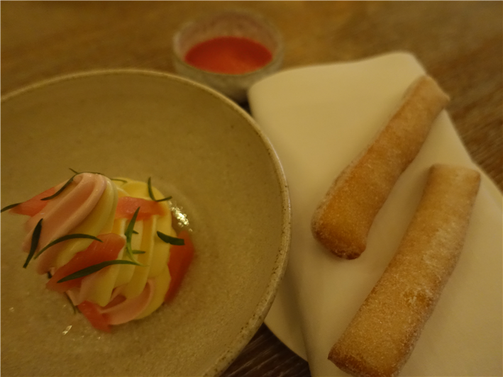 doughnuts with rhubarb ice cream