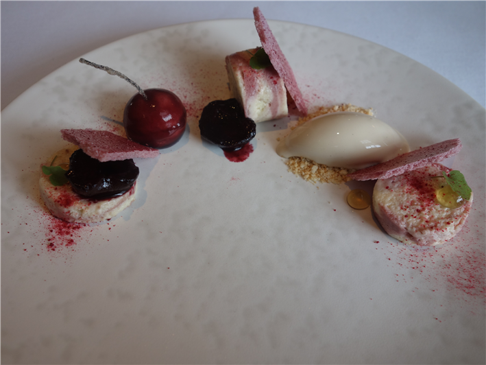 cherry parfait and almonds
