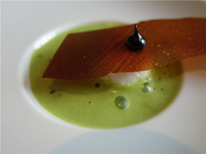 smoked tomato with watercress foam