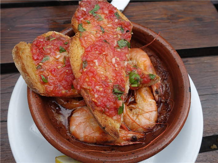 prawns and tomato toast