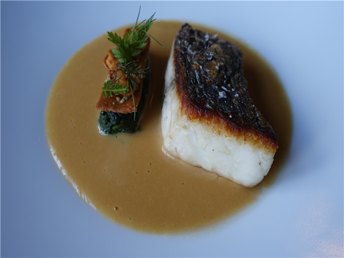 stone bass with sauce Jacqueline