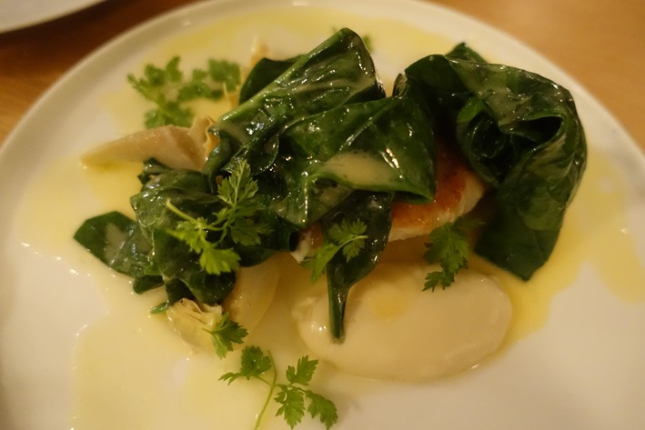 monkfish and spinach