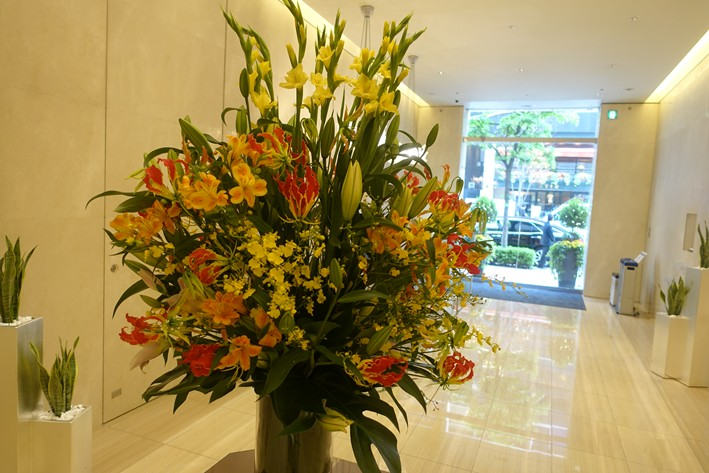 flower display in lobby