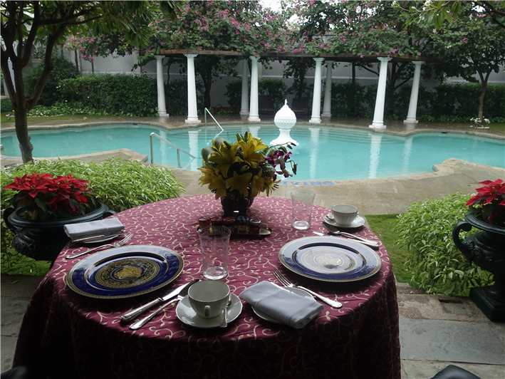 breakfast on terrace of presidential suite