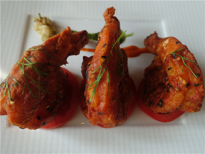 trio of tandoori prawns