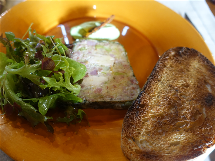 foie gras terrine with toast and salad