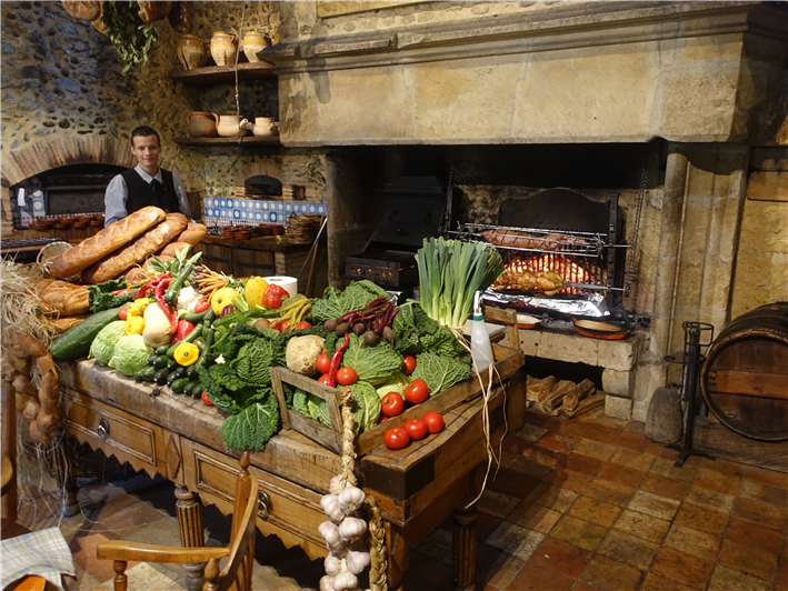 hearth with its produce display