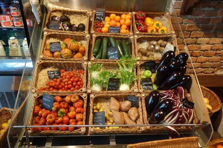 vegetable display in deli