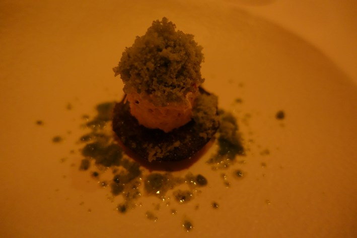 crab with basil granita