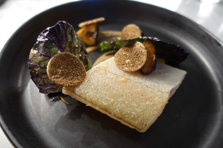whiting and mushrooms