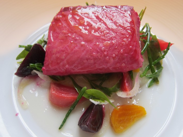 wild salmon with beetroot