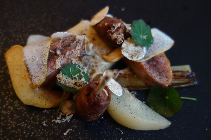 quail with pear