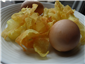 "potato crisps with sabayon ""egg"""