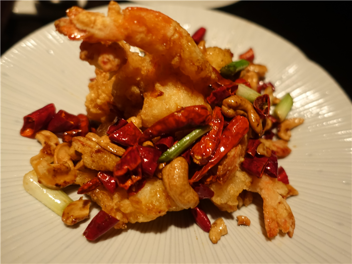 fried prawns with red chilli