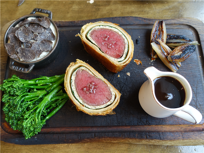 venison Wellington served